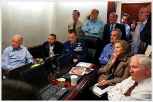 A photograph of the President, the Vice President, and the Secretary of State was widely circulated as engrossed in watching it go down in real time. But the photo itself would turn out to have been staged.